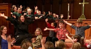 """Children's Time during 11:00 a.m. worship. Children singing """"I've Got Peace like a River."""""""
